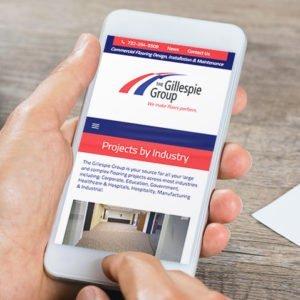 Gillespie Group website on iPhone