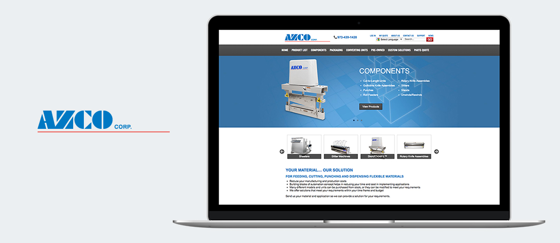 AZCO Corp website on laptop