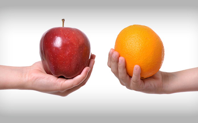 Apple and Orange in Hands