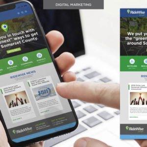 RideWise homepage on phone screen