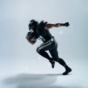 American football player on white background with hi tech elements.